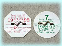 1992 Weekly Beach Badges