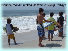 Fisher Greene of Oviedo, Florida Skimboarding With Other Boys